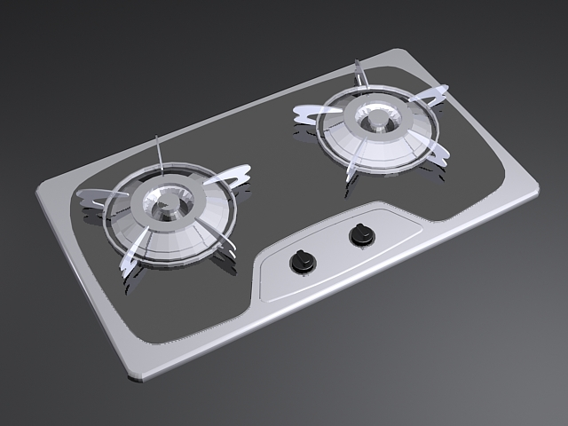 2 Burner Gas Cooktop 3d rendering