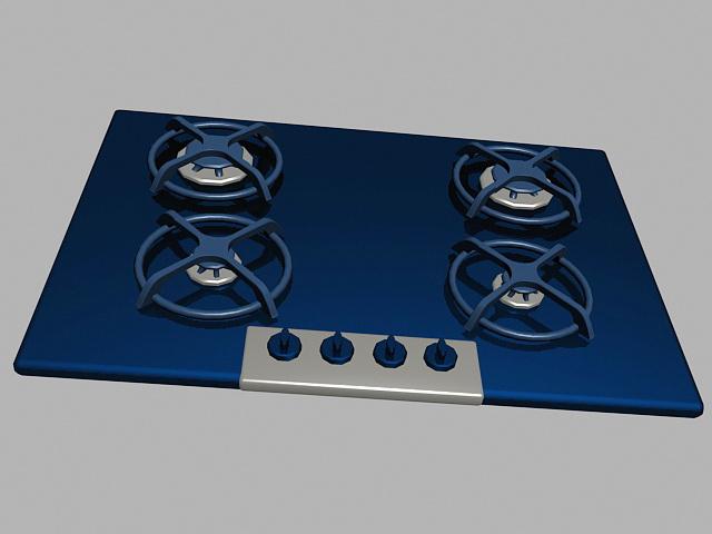 4 Burner Gas Cooktop 3d rendering