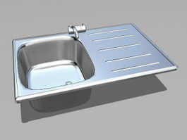 Single Bowl Kitchen Sink 3d preview