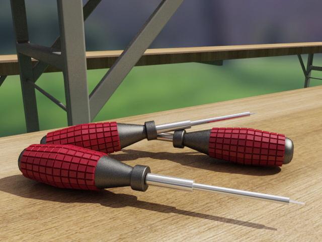 Flat Head Screwdriver 3d rendering