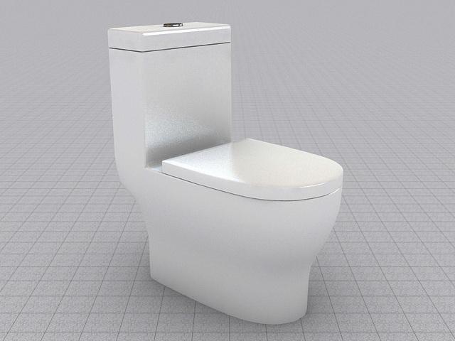 Flush Toilet 3d rendering
