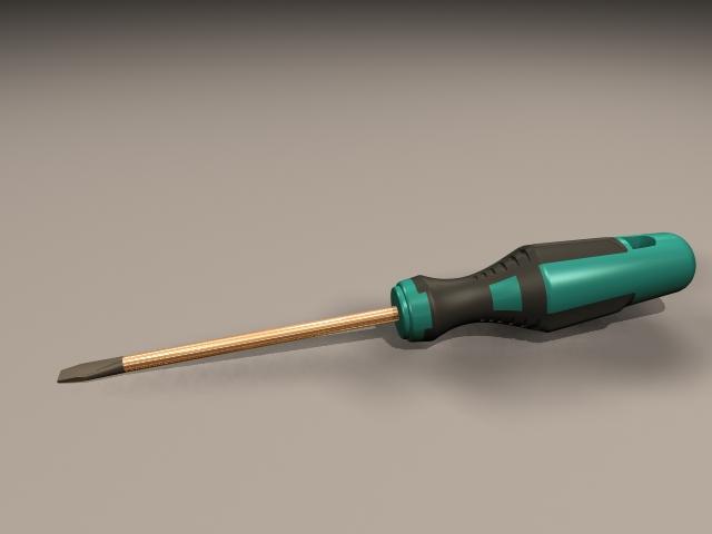 Straight Head Screwdriver 3d rendering