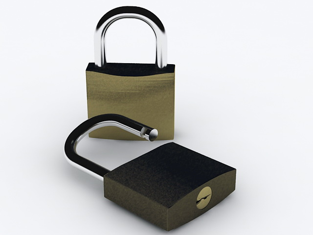 Open and Locked Padlock 3d rendering