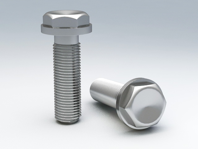 Hex Flange Bolt 3d rendering