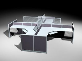 Quad Cubicle Workstations 3d preview