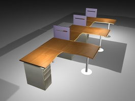 Office Desks Workstations 3d model preview