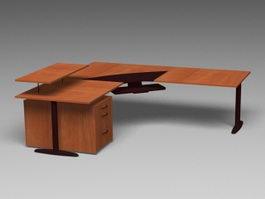 L-shaped Office Desk 3d model preview