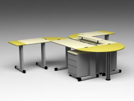 Modern Office Workstations 3d model preview