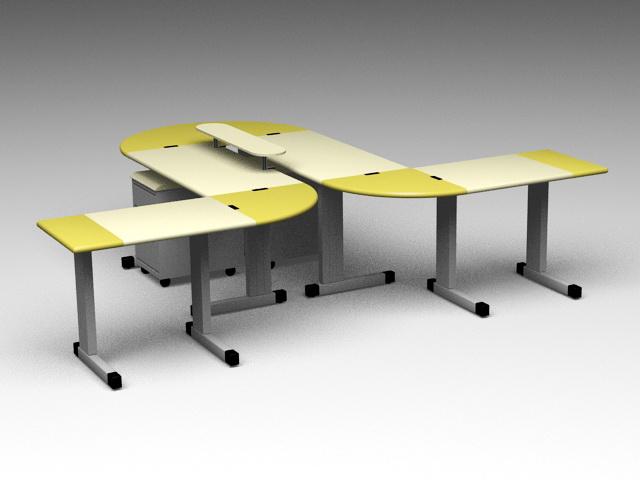 Modern Office Workstations 3d rendering