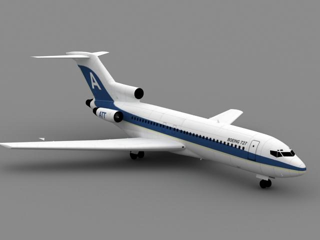 Boeing 727 Airliner 3d rendering