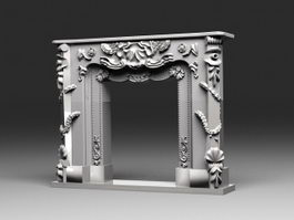 Old Stone Fireplace 3d preview