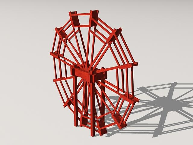 Wooden Waterwheel 3d rendering