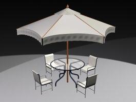 Outdoor Patio Set with Umbrella 3d preview
