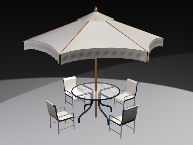 Outdoor Patio Set with Umbrella 3d rendering