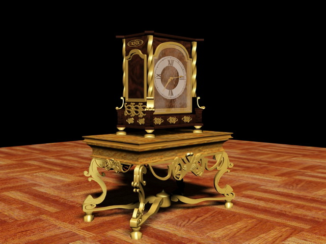 French Antique Clock 3d rendering