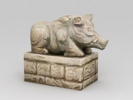 Stone Pig Sculpture 3d model preview