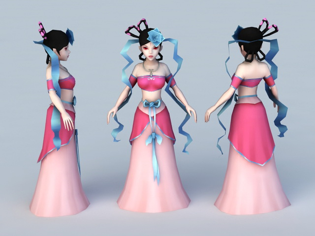 Chinese Tang Dynasty Woman 3d rendering