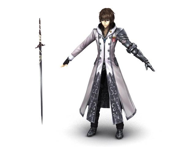 Anime Swordsman 3d rendering