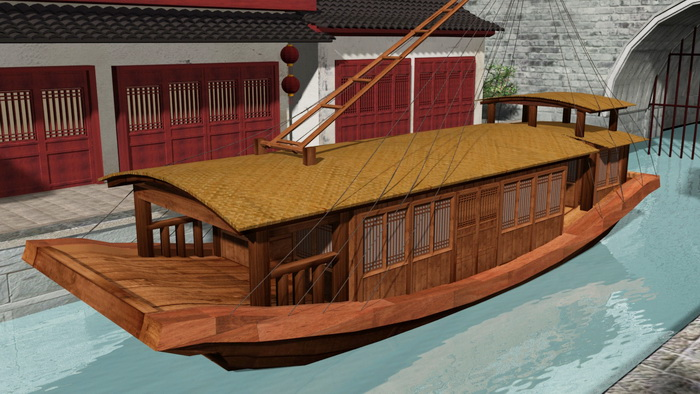 Old Chinese Boat 3d rendering
