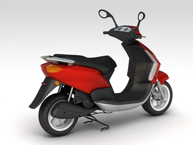 Red Moped 3d rendering