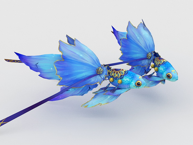 Blue Goldfish 3d rendering