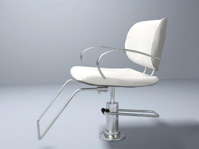 White Barber Chair 3d rendering