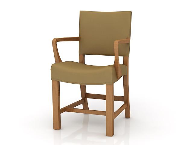Wooden Arm Chair 3d rendering