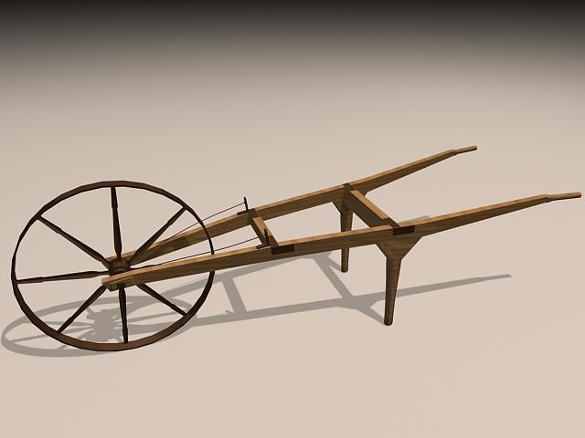 Vintage Wheelbarrow 3d rendering