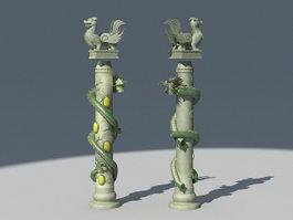 Chinese Dragon Pillar Column 3d preview