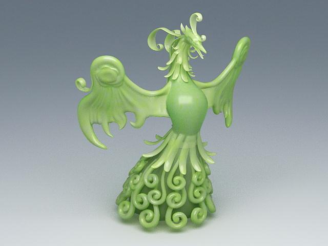Jade Phoenix Sculpture 3d rendering