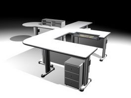 Office Workstations 3d model preview