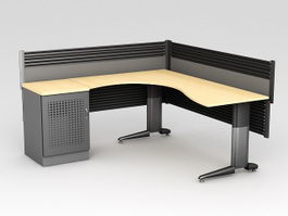 L-shaped Office Workstation 3d model preview