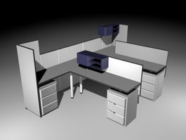 Office Cubicle and Partitions 3d preview