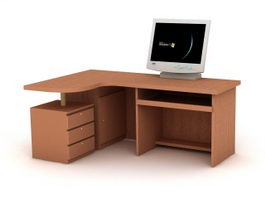 Office Desk with Computer 3d preview