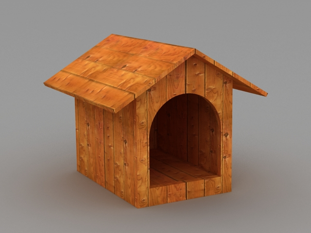 Wood Dog House 3d rendering