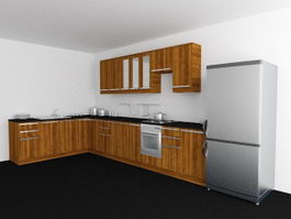 L-shaped Kitchen Design 3d preview