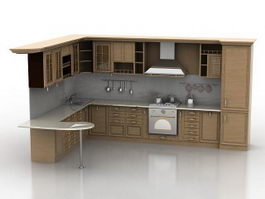L-shaped Kitchen 3d preview
