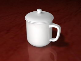 White Ceramic Tea Cup 3d preview