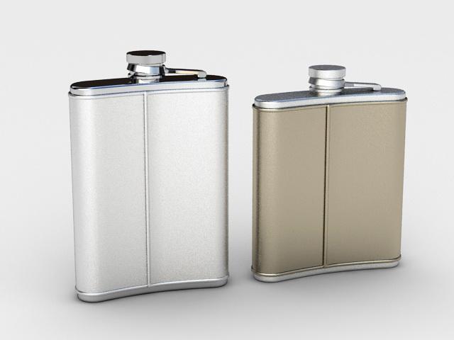 Stainless Steel Hip Flask 3d rendering