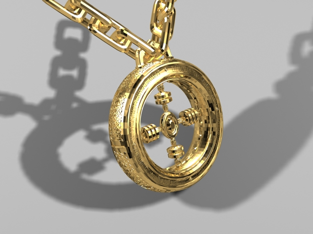 Gold Necklace 3d rendering