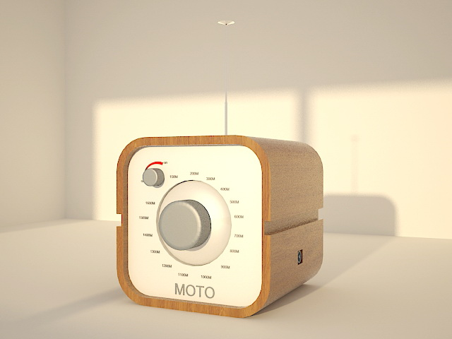 Small Desk Radio 3d rendering