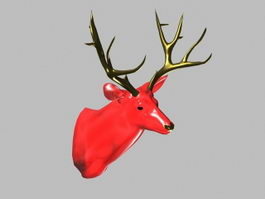 Red Deer Head Decor 3d model preview