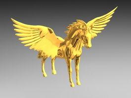 Gold Pegasus 3d model preview