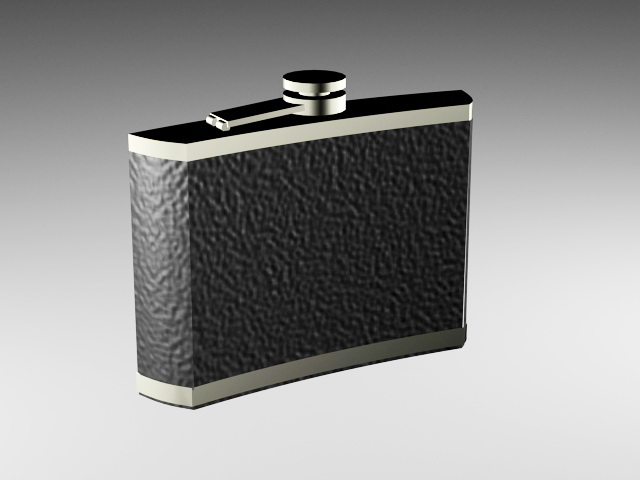 Alcohol Flask 3d rendering