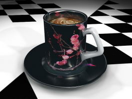 Black Coffee Cup and Saucer 3d preview