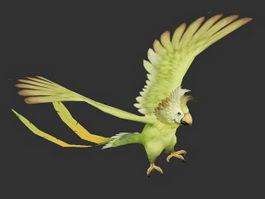 Green Quaker Parrot 3d model preview