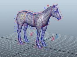 Horse Rig Maya 3d model preview