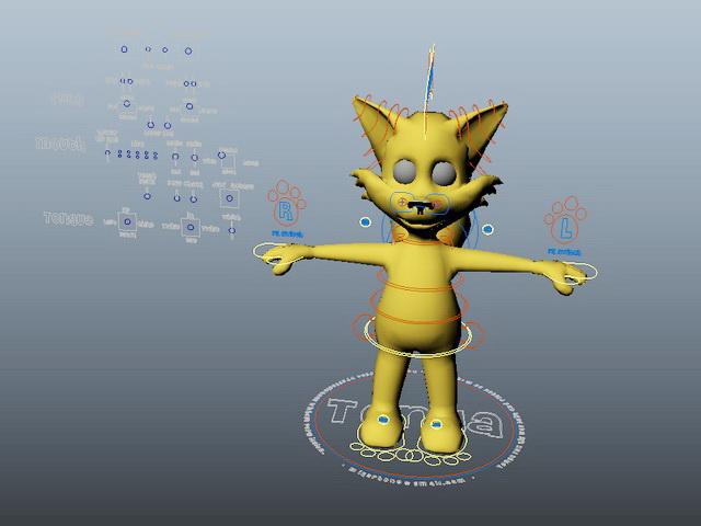 Cute Cartoon Fox Rig 3d rendering