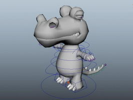Cute Cartoon Crocodile Rig 3d preview
