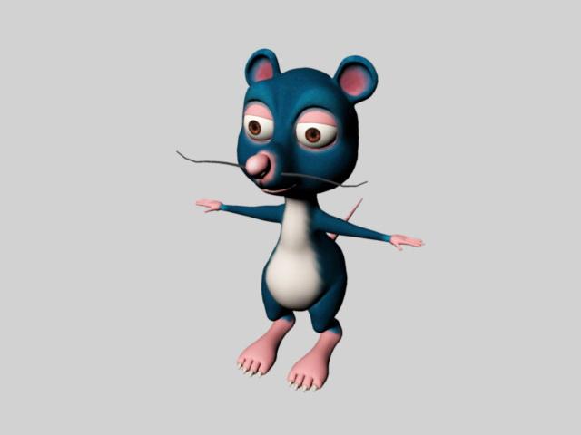 Cute Cartoon Mouse Rig 3d rendering